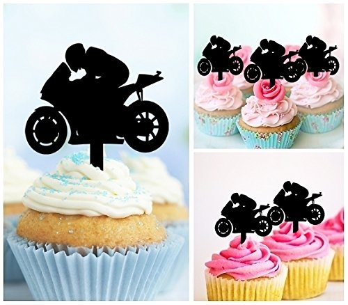 TA0201 Motorcycle Racing Sport Silhouette Party Wedding Birthday Acrylic Cupcake Toppers Decor 10 pcs