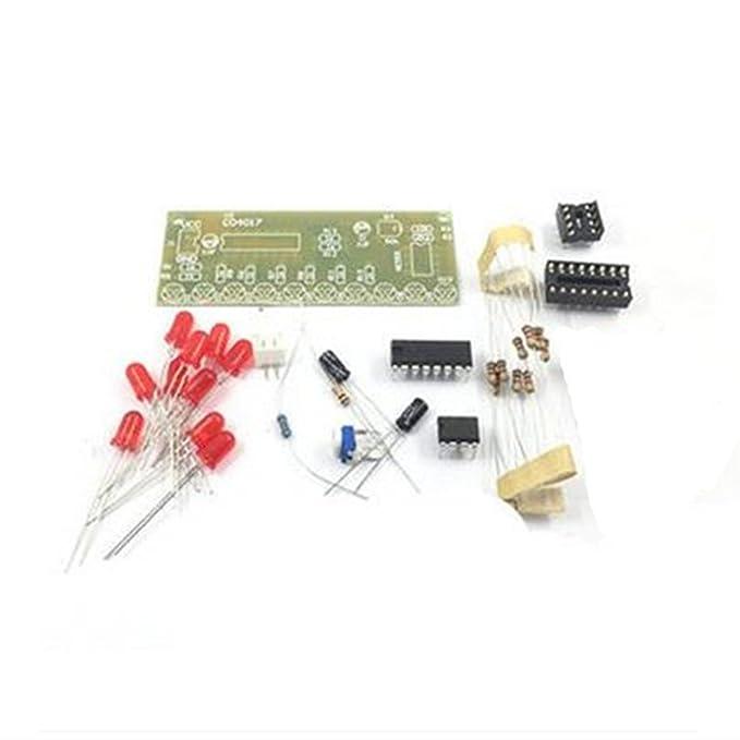 MagiDeal Placa de circuito Kit de bricolaje NE555 + CD4017 10 CH de LED Luz de Agua Electrónica