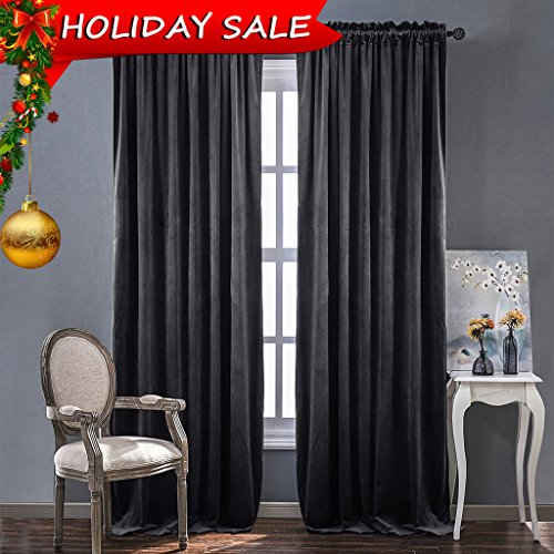 Pole Top Curtain Panel (Living Room Blackout Velvet Curtains - Sound Reducing Heavy Matt Solid Rod Pocket Drapes / Panels by NICETOWN (2 Panel Per Pack, 84 inch Long, Grey))