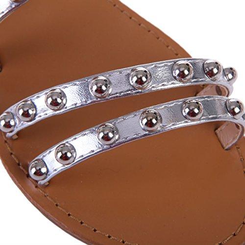 Modeuse Sandales multibrides en Plates Simili Argenté La à Cuir gdqSvg7w