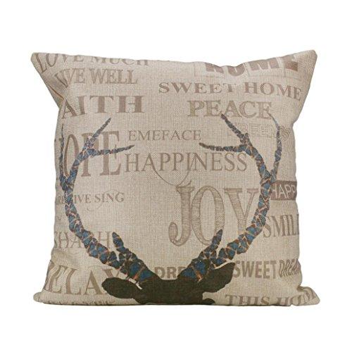Hatop Decorative Linen blend Square Pillow Case Sofa Waist Throw Cushion Cover Home Decor (J)