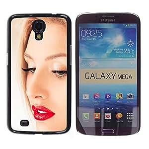 Qstar Arte & diseño plástico duro Fundas Cover Cubre Hard Case Cover para Samsung Galaxy Mega 6.3 / I9200 / SGH-i527 ( Face Portrait Blonde Woman Red Lips Eyes)