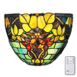 9.25'' H Stained Glass Hampstead Cordless LED Wall Sconce