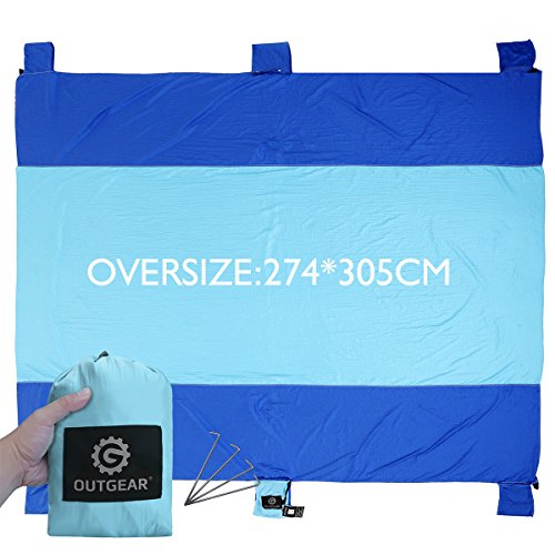 Outgear Sand Escape Oversized 9' X 10 Huge Fast Drying Lightweight Beach Blanket made of 100% Parachute Nylon, Durable Outdoor Picnic Mat Machine Washable with Four Stakes, Completely Sand - Shipping Use Sunglasses Free