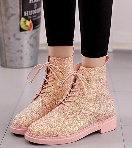 IDIFU Low Sequins Pink Women's Booties Boots Ankle Up Heels Martin Chunky Short Lace Glitter RtqRxnprW