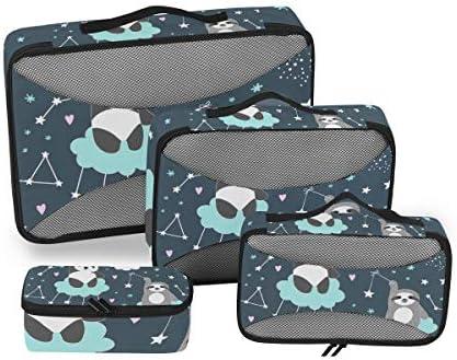 パンダナマケモノの星 荷物パッキングキューブオーガナイザートイレタリーランドリーストレージバッグポーチパックキューブ4さまざまなサイズセットトラベルキッズレディース