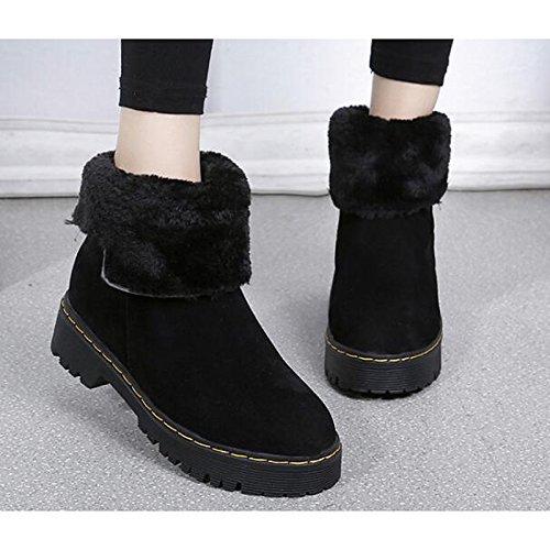 HSXZ Damenschuhe PU Winter fallen Komfort Absatz flachem Absatz Komfort Booties Stiefel/Stiefeletten für Casual Braun Schwarz Braun e904dd