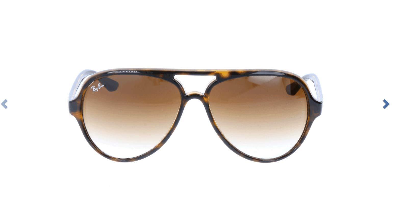 Ray-Ban RB4125 Cats 5000 Aviator Sunglasses, Light Tortoise/Brown Gradient, 59 mm