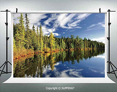 Photography Backdrops Elegant Forest Reflecting on Calm Lake Shore at North Canada Universe Art Print 3D Backdrops for Photography Backdrop Photo Background Studio Prop -