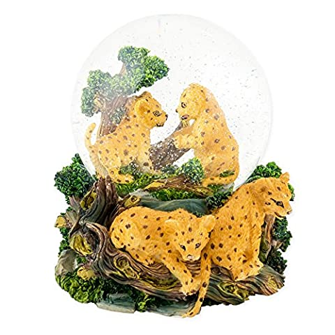 Playful Cheetah Cubs 100mm Resin Water Globe Plays Tune I Just Can't Wait to Be King (Wwf Cheetah)