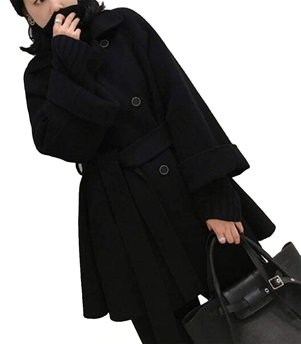 Black Jofemuho Women's Double Breasted Warm Wool Wlend Loose Trench Pea Coat Jacket Overcoat