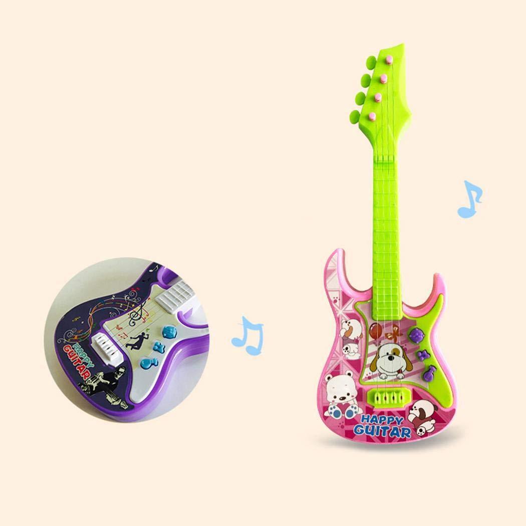 Qenci 1pcs Children Cute 3-in-1 Musical Toy Mini Touch Sensing Toy Guitars & Strings (Random Color)