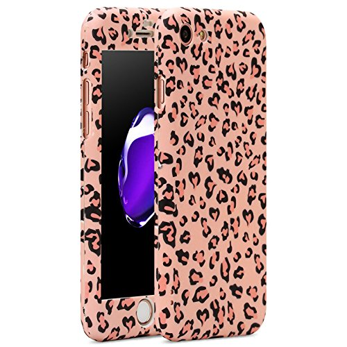 iPhone 7 case, Vancer Full Body Protection [360 Degree All-around] Series, Hard Slim Premium shockproof Cover with Tempered Glass Screen Protector for iPhone 7(4.7) (Pink Leopard)