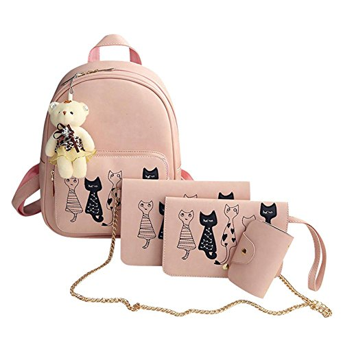Bags Leather Girls Women Small Set 02 School Black 4Pcs for Backpacks Backpack PU Teenage Pink nPS70x0