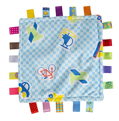 Maven Gifts Baby Tag Blanket Blue Check Vehicles. Classic Security Blanket Soothes and Provides Sensory Stimulation, Aides Fine Motor Skill Development While Calming Baby.