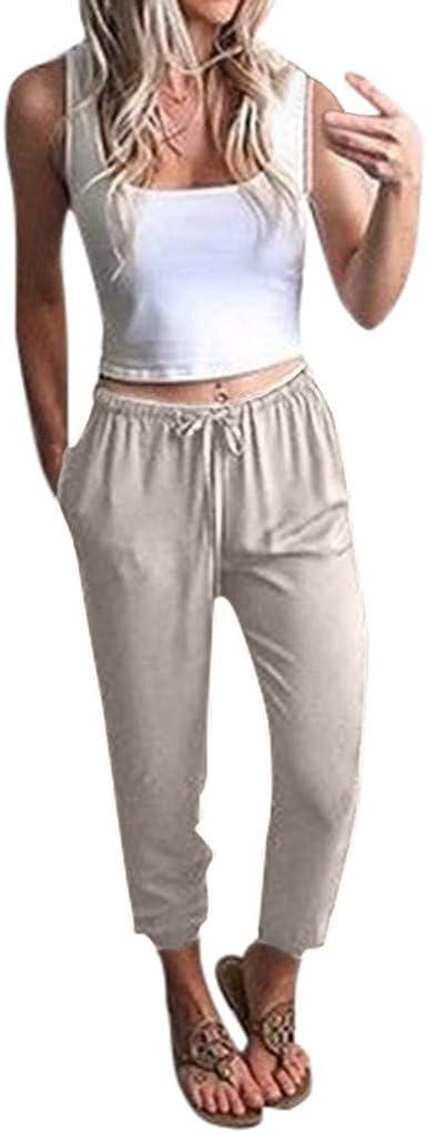 Risthy Mujer Pantalones De Lino Casual Sueltos Pantalones De Verano Cintura Alta Damas Pantalon Cintura Cordon Pantalones De Deporte Color Solido Para Mujeres Amazon Es Ropa Y Accesorios