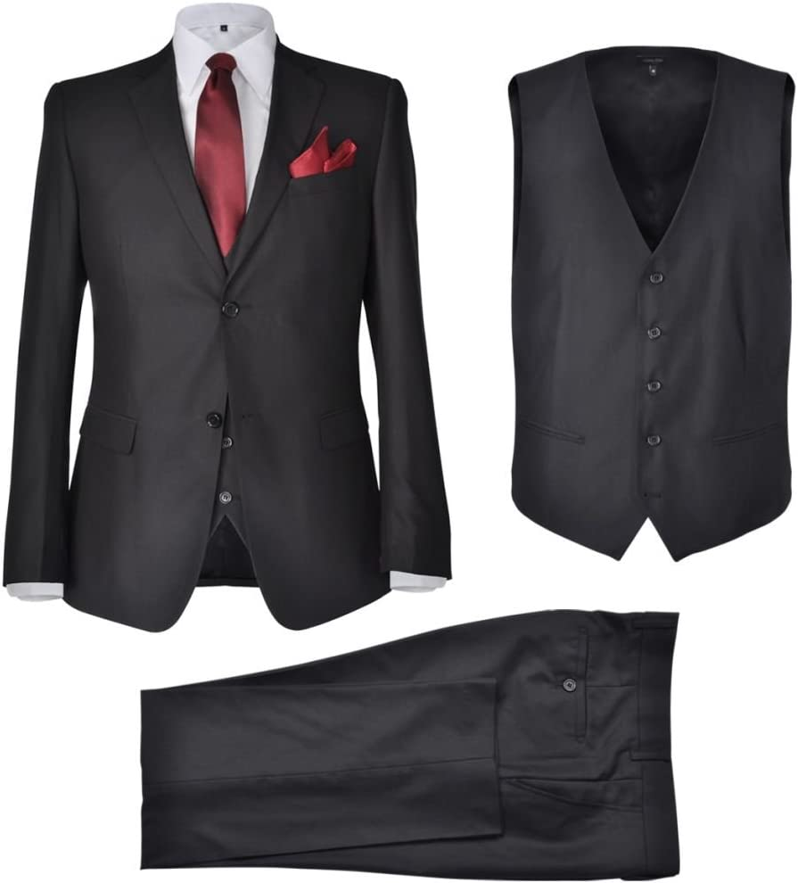 Tidyard Completo da Uomo a 3 Pezzi Elegante Nero//Grigio Taglia 46//48//50//52//54,Completi Uomo Elegante,Abito Uomo Elegante,Mens Suit,Completo Uomo da Business
