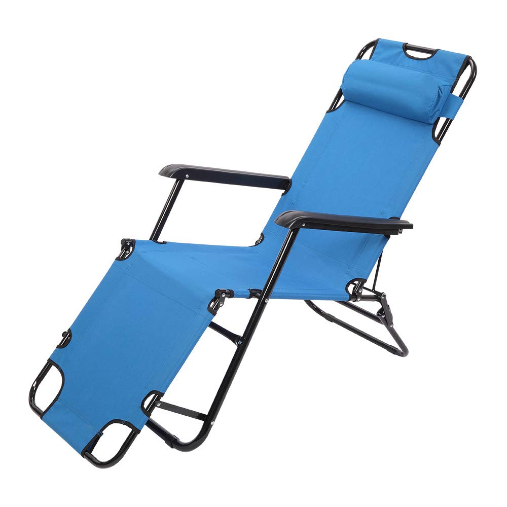 RHC-202 Portable Dual Purposes Extendable Folding Reclining Chair Blue by winchance