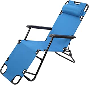 Portable Adjustable Folding Outdoor Lawn Lounge Reclining Chair Recliners with Pillows for Patio,Poolside, Beach, Yard,Foldable Deck Chair Siesta Single Bed 330 Lbs Blue