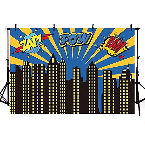 COMOPHOTO Cityscape Backdrop 7x5ft Super Hero City Night Scene Boy Children Birthday Decoration Photo Backdrops for Party Banner Pictures