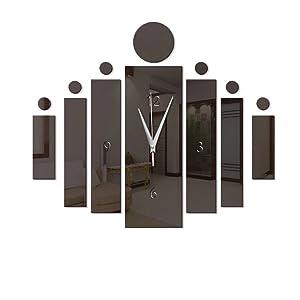 Xuba Elegant Acrylic Mirror-Surface Noiseless Clock Wall Sticker Set DIY Art Mural Home Decoration Wall Clock