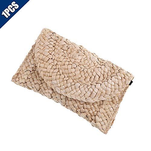 (Comidox 1Pcs Rattan Woven Handbag Straw Clutch Handbag Handmade Straw Knitted Messenger Purse Envelope Bag Wallet Beach Bag)
