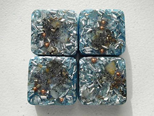(4 Mini Cube Tower Busters Light Blue Orgone Generator Energy Accumulator PERFECT GIFTING TOOL!!!! Made 528Hz Frequency with OM Chants Orgonite Many Beautiful Ingredients and Colors!!)