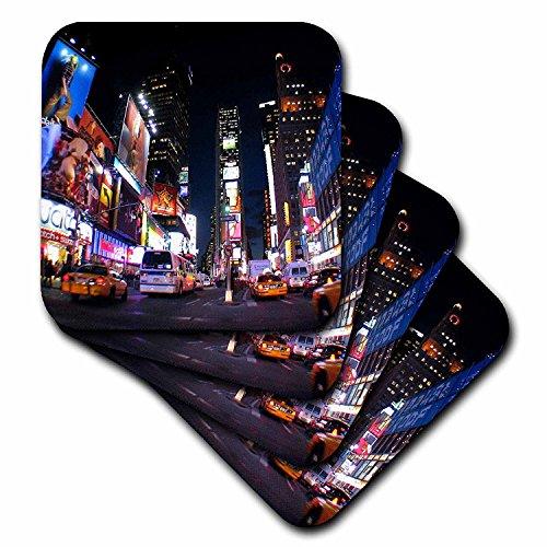 3dRose New York City Times Square Ceramic Tile Coaster, Set of 4