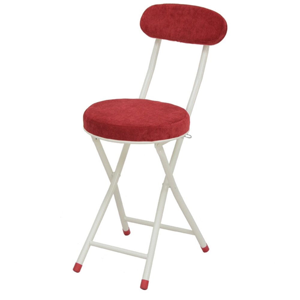 Folding chair / not removable washable / leather / soft dining chair / small round chair / ( Color : Red )