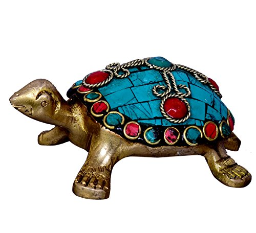 Metal Tortoise - Purpledip Tortoise/Turtle Statue: Made of Solid Brass Metal and Embellished with Turquoise Stone-work: Use as paper-Weight or Decorative Showpiece   Good Luck Symbol in Feng Shui Philosophy (10323)