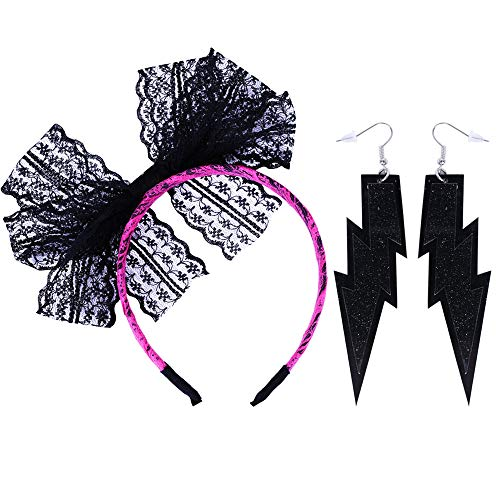 (LEKUSHA Women's 80s Costume Accessories Neon Lace Headband Hair Band with Neon Lightning Earrings - Rose Red)