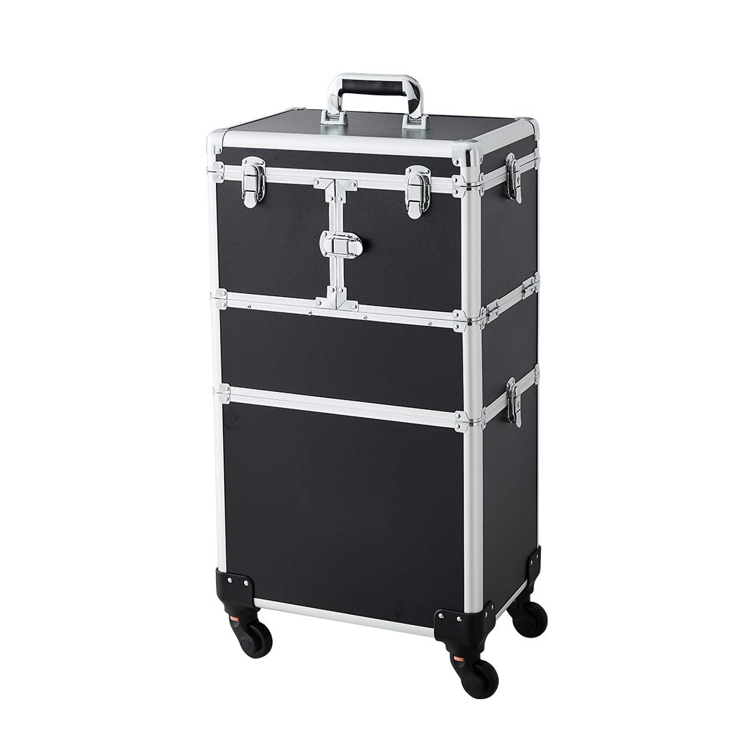Makeup Case - 2 In 1 Aluminum Professional Cosmetic Organizer Box With Folding Trays and Removable Lid Black by OUDMAY