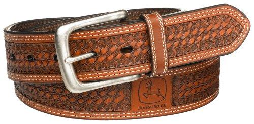 John Deere Men's Leather Removable Buckle Classic Bridle Belt, Tan, 40
