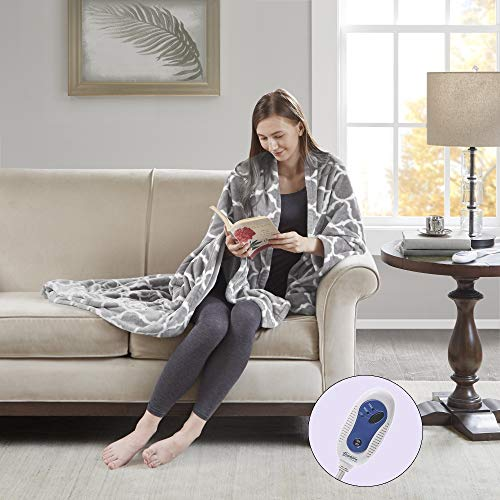"Beautyrest - Plush Heated Throw Blanket - Secure Comfort Technology -Oversized 60"" x 70""- Gray - Ogee Pattern in White - Cozy Soft Microlight Heated Electric Blanket Throw - 3-Setting Heat Controller"