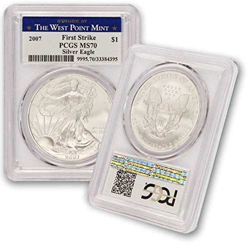 2007 American Silver Eagle $1 MS70 PCGS First Strike - Struck At The West Point Mint