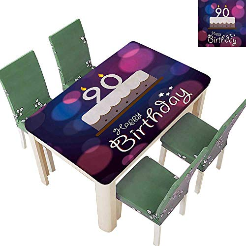 Printsonne Polyester Tablecloth Table Cover Dreamy Layout with Color Spots Artistic Graphic Cake Design Blue Pink White for Dining Room 54 x 72 Inch (Elastic Edge)