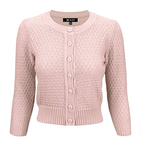 YEMAK Women's 3/4 Sleeve Crewneck Cropped Button Down Knit Cardigan Sweater MK3514-PBG-L