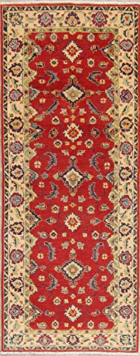Rug Source New One-of-a-Kind Pakistani Kazak Wool Handmade Traditional Oriental 3x7 Runner Rug Red (6' 11