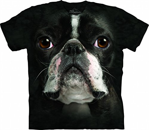 Boston Terrier Face - Mountain Boston Terrier Face Adult Size T-shirt , Black , Large