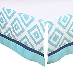 Teal Blue Tile Print Tailored Crib Dust Ruffle by The Peanut Shell