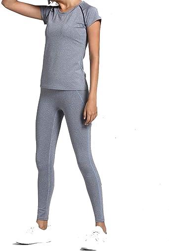 CrisKat Conjunto de Ropa Deportiva para Mujer Top de Running de Manga Corta de 2 Piezas Pantalones de Cintura Alta Yoga Gym Wear: Amazon.es: Ropa y accesorios