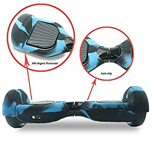 Fbsport 6.5inch Silicone Scratch Protector Cover Case For 2 Wheels Self Balancing Electric Scooter (Blue/Black- Full-Body)