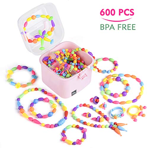 EFOSHM Pop Beads-600PCS Jewelry Making Kit for Kids,Girls DIY Jewelry Kit, 3, 4, 5, 6, 7, 8 Year Old Girl Gifts