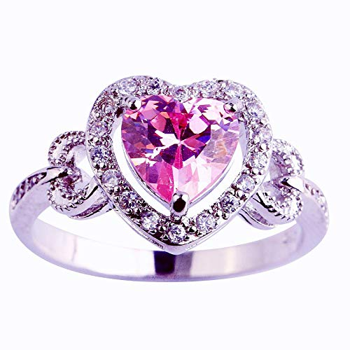 Shaped Cocktail - Narica Womens Heart Shaped Pink Topaz Cubic Zirconia CZ Promise Cocktail Ring (Pink, US_10)