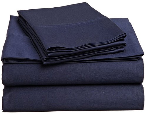 Kural33 300 Thread Count Organic Cotton Queen Sheet Set, GOTS Certified Sheets, Hotel Collection Bedding, Luxury Bedsheet (Navy Blue) by