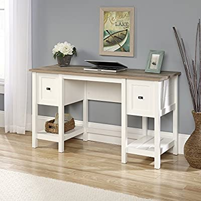 Sauder Cottage Road Desk, Soft White finish - Drawers with full extension slides feature patented t-slot assembly system File drawer holds letter-size hanging files - turning your chaos into organization Two lower shelves for additional storage - writing-desks, living-room-furniture, living-room - 512jyQrVt4L. SS400  -