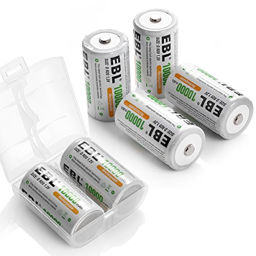 EBL Rechargeable D Batteries 10,000mAh Ni-MH Battery D Size Cell, Pack of 6