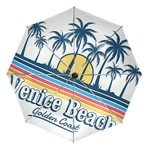 (Jereee Venice Beach Coconut Tree Sunset Compact Travel Umbrella, Outdoor Rain Sun Car Folding Reversible Umbrellas for Windproof, Reinforced Canopy, UV Protection, Ergonomic Handle, Auto Open/Close)