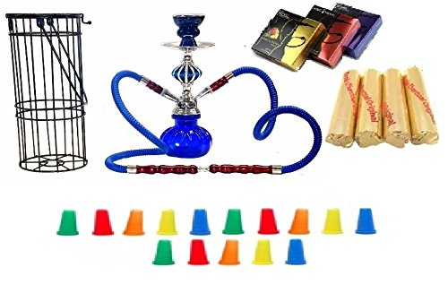 "Zebra Smoke Series: 11"" 2 Hose Pumpkin Hookah with Cage- Complete Set- Combo KIT SET w/ Instant Charcoal (Like Three Kings Charcoal), Hydro Herbal Molasses(like Blue Mist), and Hookah Mouth Tips (Pick Your Color) (Blue)"