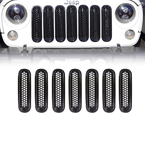 Xprite Black Front Grill Mesh Grille Insert Kit for 2007-2018 Jeep Wrangler JK & JK Unlimited (7-Piece Set) ()